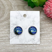 Van Gogh Starry Night Earrings, Tiny Round Painting Stud Earrings, Fine Art Lover Jewelry, Cute Artist Earrings, Unique Jewelry, Birthday