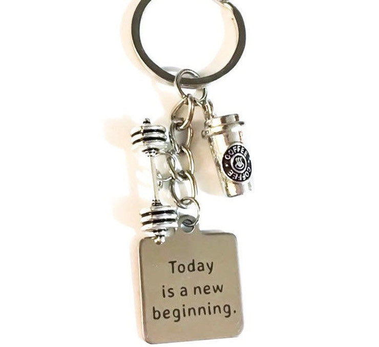 Today is a New Beginning, Fitness Coffee Keychain, Fitness Training Gifts, Dumbbell Charm, Fitness Charms, Bodybuilding, Gym Key Ring