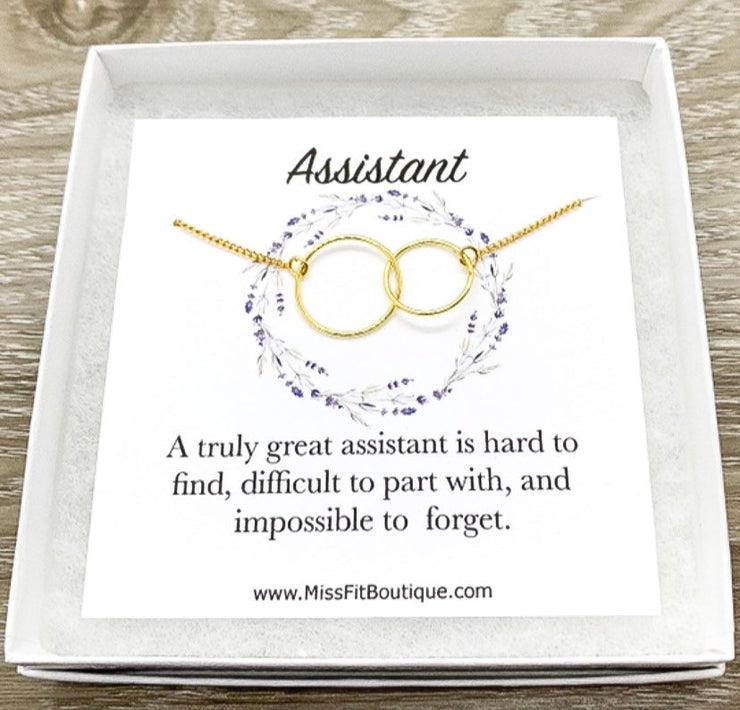 Truly Great Assistant Gift, Interlocking Circles Necklace, Circular Pendant, Linked Circles Necklace, Thank You Gift for Assistant, Thanks