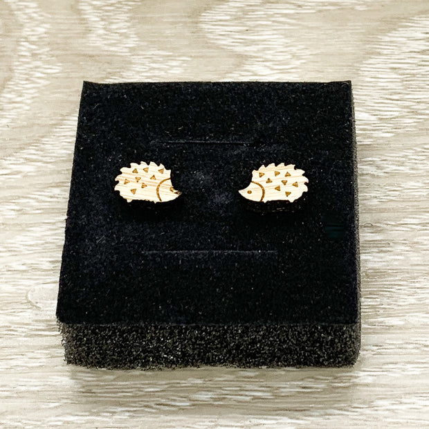 Hedgehog Stud Earrings, Tiny Porcupine Earrings, Animal Lover Jewelry, Cute Wooden Earrings, Unique Jewelry, Gift for Her
