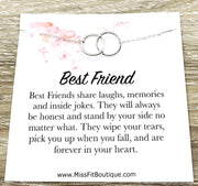 Best Friends Necklace, Linked Circles Necklace, 2 Circle Pendants, Personalized Quote Card, Gift for Bestie, Friend Christmas, Gift for Her