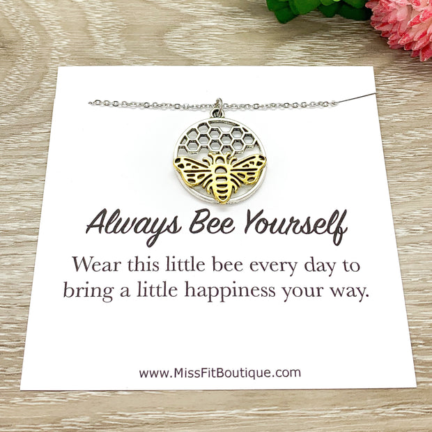 Always Bee Yourself, Bee with Honeycomb Necklace, Bee Pendant Gold Silver, Affirmation Gift, Statement Necklace, Modern Jewelry
