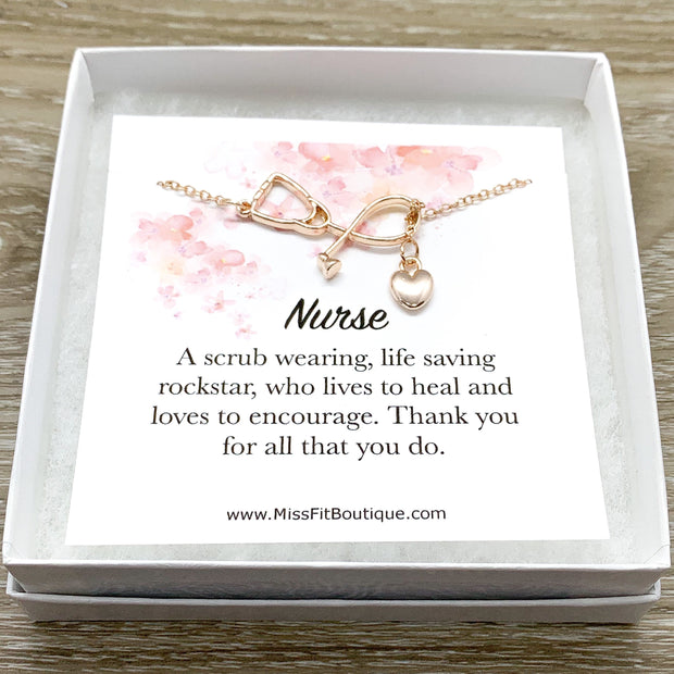 Stethoscope Necklace, Nurse Appreciation Gift, Lariat Y Necklace, Nursing Jewelry Gift, Thank You Gift from Patient, Medical Student Gift