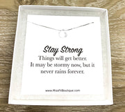 Strength Necklace, Clear Sterling Silver Teardrop Necklace, Stay Strong, Inspirational Card, Uplifting Jewelry, Thinking of You Gift