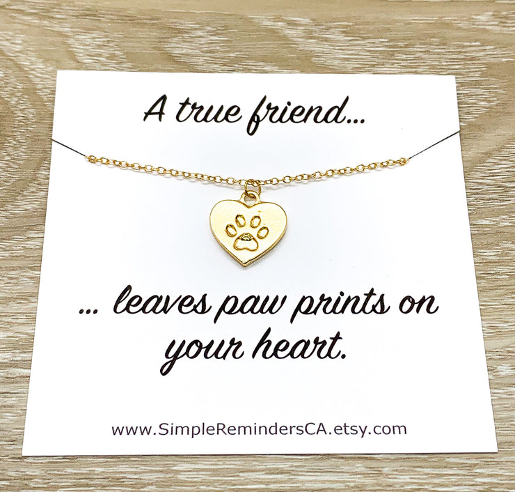 Paw Print Necklace Silver, Dainty Paw Pendant, Minimal Pet Jewelry, Cat Lover Gift, Dog Owner, Paw Prints on your Heart Quote, Pet Loss