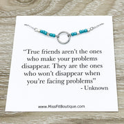 True Friends Quote, Dainty Silver Circle Necklace, Circular Pendant, Best Friend Gift, Infinity Circle Necklace, Unbiological Sister Gift