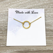 Amazing Volunteer Gift, Infinity Circle Necklace, Circular Pendant, Eternity Necklace, Personalized Card, Thank You Gift, Appreciation Gift