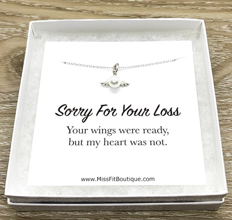 Sorry For Your Loss Card, Sterling Silver Pearl Angel Pendant, Tiny Angel Necklace, Remembrance Gift, Bereavement Gift for Women