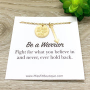 Be a Warrior Gift, Arrow Necklace with Card, Strength Gift, Fighter Jewelry, Simple Reminder, Cancer Patient, Survivor Gift, Be Brave Charm