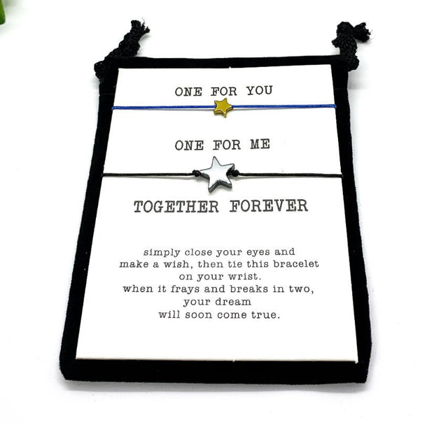 Together Forever Wish Bracelet Set for 2, Matching Star Friendship Bracelets, Gift for Best Friend, Minimal String Bracelet, Stocking Filler