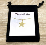 Gold Star Necklace, Witch Pendant, Starry Night Necklace, Celestial Jewelry, Friendship Necklace, Christmas Star Necklace, Birthday Gift