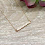 Daughter in Law Necklace, Rose Gold Bar Necklace, Gift for Bride from Mother of the Groom, Meaningful Jewelry, Gift from Mother in Law