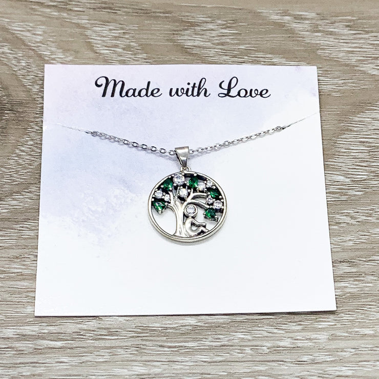 Emerald Green Tree Necklace, Strength Jewelry, Tree with Strong Roots Quote, Inspirational Card, Nature Lover Gift, Survivor Gift, Uplifting
