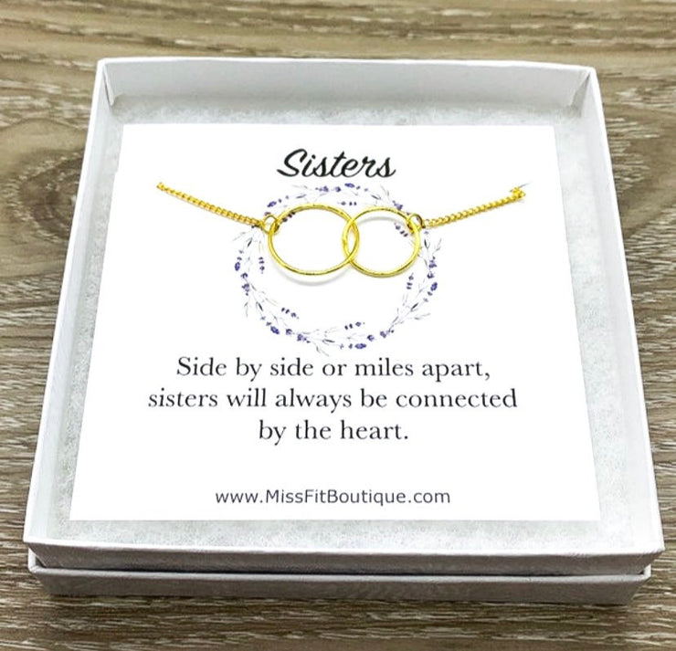 Sisters Necklace, Side by Side, Interlocking Circles Necklace, Circular Pendant, Linked Circles Necklace, Big Sister, Sister Birthday Gift