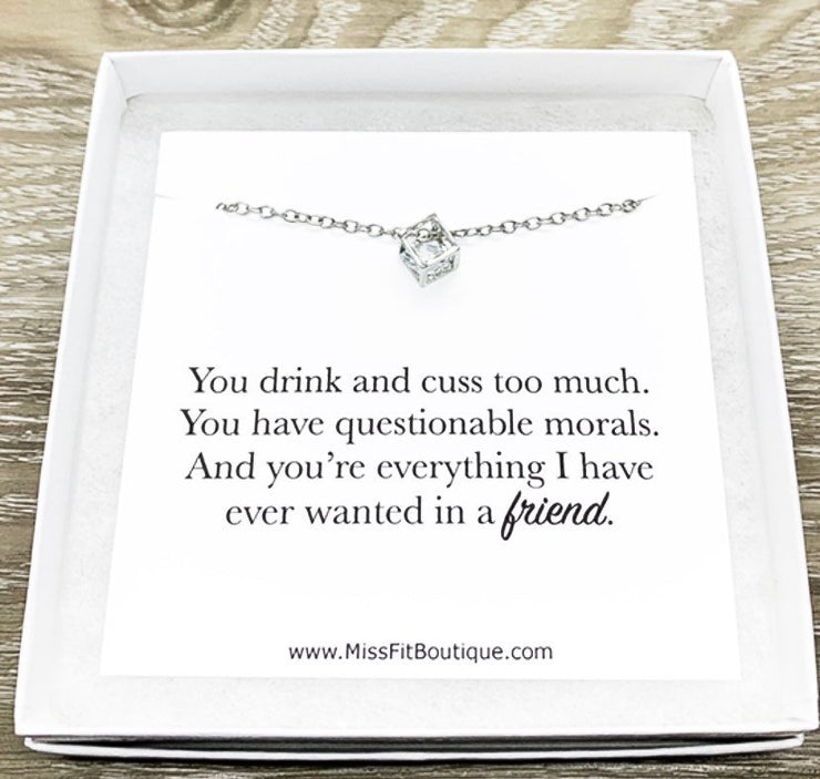 Funny Friendship Card, Dainty Cube Crystal Necklace, Uplifting Gift, Silver Square Necklace, Stocking Filler, Gift for Bitches, Holiday Gift