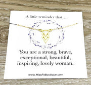 Simple Reminder Gift, Arrow Necklace, Uplifting Gift for Friend, Inspirational Card, You Are Strong, Brave, Affirmation Gift, Dainty Jewelry