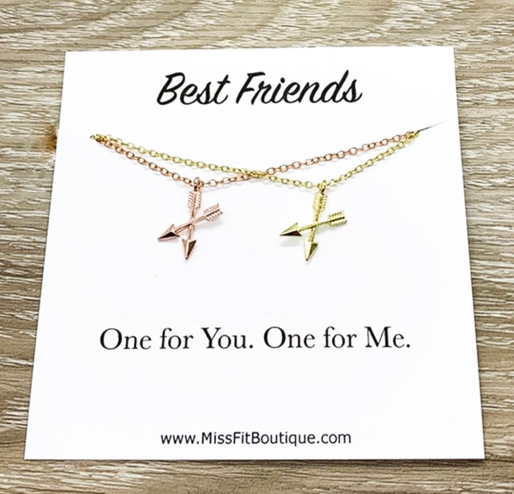 Best Friends Necklaces, Matching Necklace Set, Crossing Arrows Necklace, Soul Sisters Card, Gift from Best Friend, BFF Gift, Friendship Gift