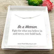 Tiny Arrow Necklace, Warrior Quote Card, Dainty Sterling Silver Jewelry, Gift for Daughter, Inspirational Necklace, Gift for Her, Teen Girl