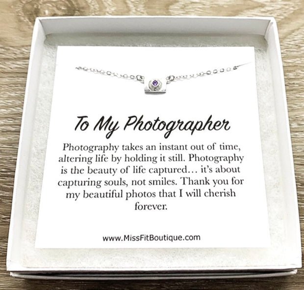 Tiny Camera Necklace with Card, Photographer Necklace, Sterling Silver Jewelry, Photographer Thank You Gift, Photo Pendant, Christmas