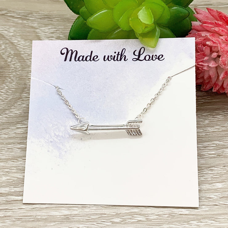You Are My Hero, Arrow Necklace with Card, Inspirational Quote, Strength Necklace, Tiny Arrow Pendant, Gift for Mother, Motivational Gift