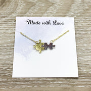 True Friendship Card, Tiny Puzzle Necklace, Long Distance Friendship Gift, Silver Puzzle Jewelry, Jigsaw Puzzle Gift, Birthday Gift, Holiday