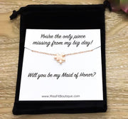Bridesmaid Proposal Puzzle Necklace, Will You Be My Bridesmaid Gift, Bridal Party Jewelry, Silver Jigsaw Puzzle Necklace, Minimalist Jewelry