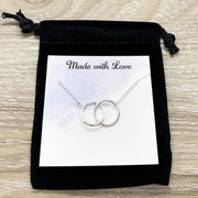 Best Friends Necklace with Gift Box, Linked Circles Necklace, 2 Circle Pendants, Personalized Card, Gift for Bestie, Friend Christmas