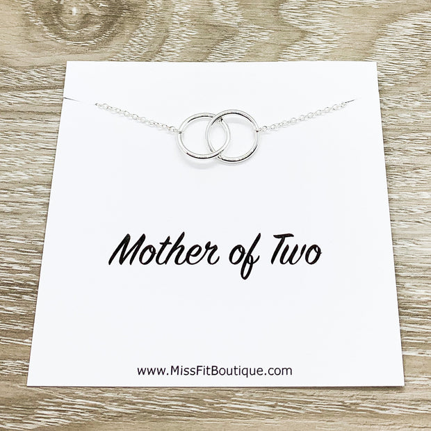 Mother of Two Necklace with Card, Linked Circles Necklace, 2 Circle Pendants, Gift for Mom from Kids, Gift for Mama, Mother Christmas