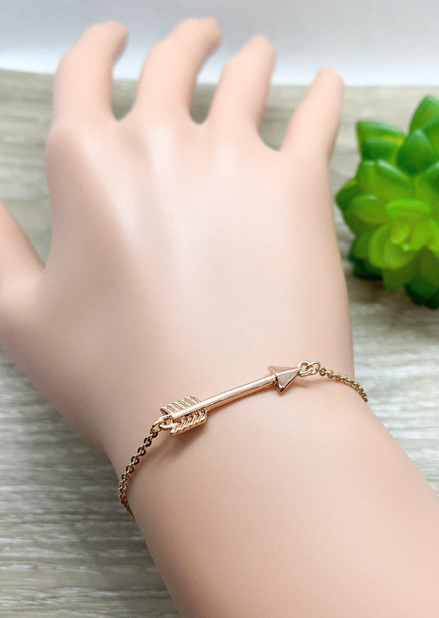 Tiny Arrow Chain Bracelet, Dainty Bracelet, Layering Bracelet, Arrow Jewelry, Simple Reminder, Stocking Stuffer for Girls, Friend Christmas