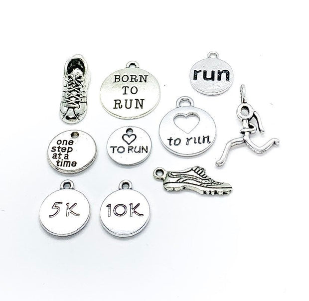 Running Charms Bundle, Charm Lot, Bulk, Running Shoe Charms, 5K, 10K Charm, Fitness Charms, Jewelry Findings, Stocking Stuffer