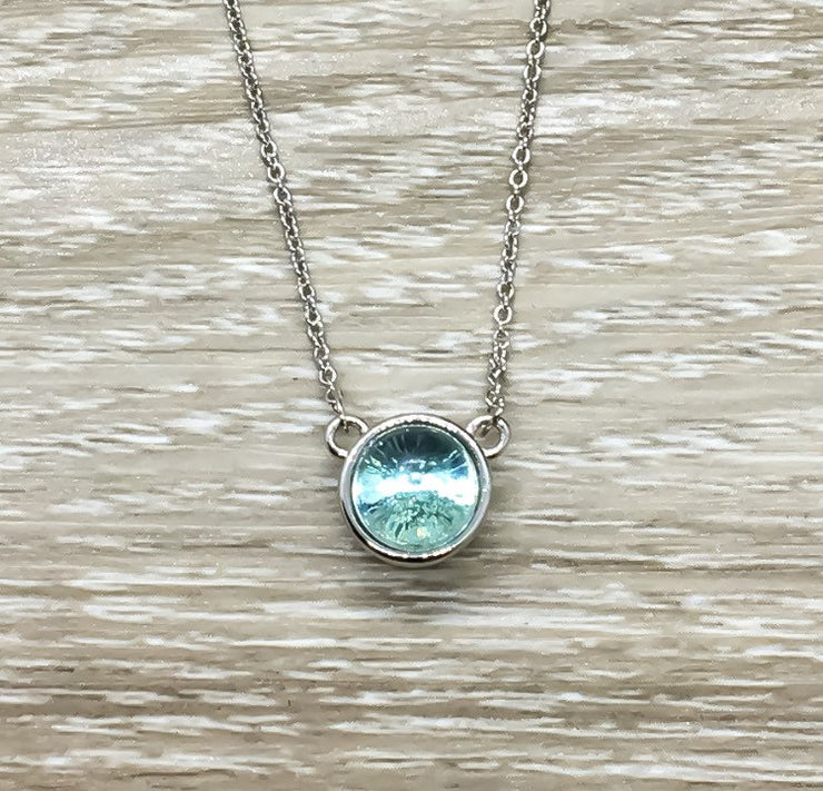 Sister Gift, Aqua Crystal Necklace, Round Necklace Sterling Silver, Minimalist Jewelry, Sentimental Gift, Dainty Necklace with Card