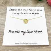 True North, Tiny Compass Necklace with Personalized Card, Gold Compass Pendant, Friendship Necklace, Friend Birthday Gift, Gift for Bestie
