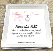 Proverbs 31:25 Card, Round Crystal Necklace, Sterling Silver Solitaire Pendant, Strength Jewelry, Gift for Friend, Cheer Up Gift