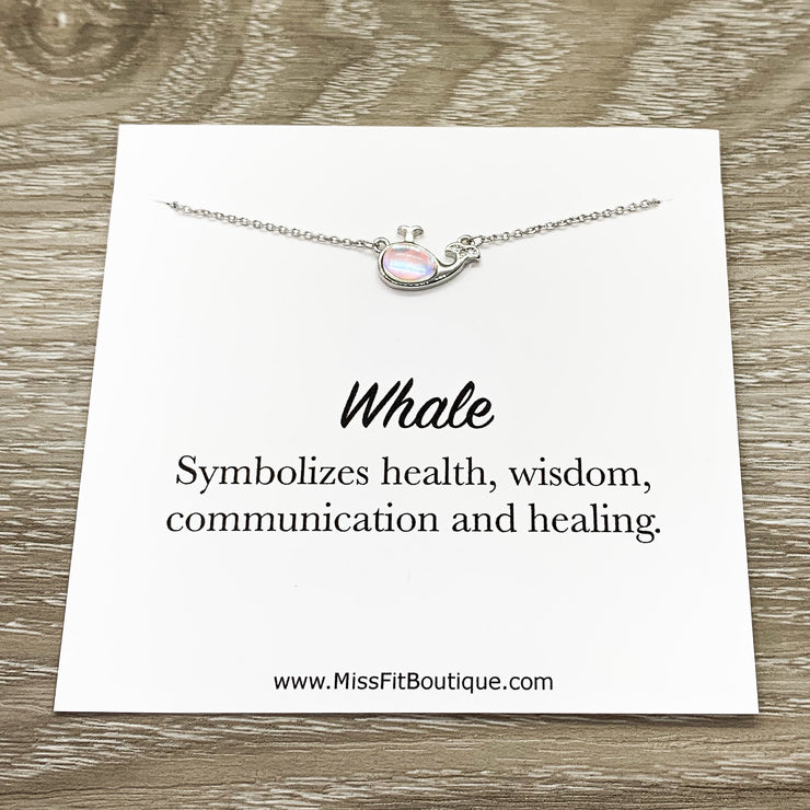 Whale Symbol, Whale Jewelry Gift, Opalite Whale Necklace, Mental Health, Beach Necklace, Support Gift, Ocean Gift, Friendship Necklace