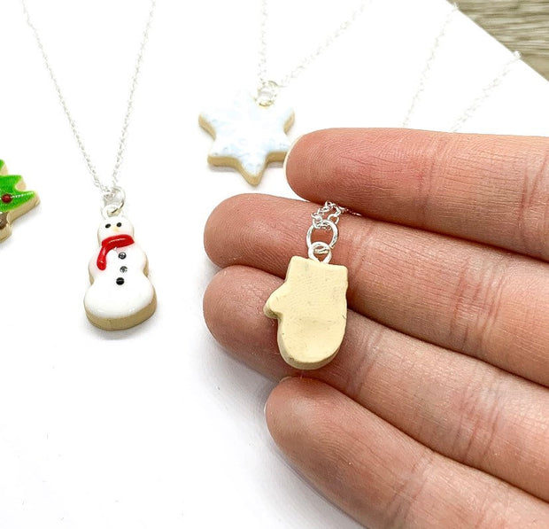 Christmas Cookie Charm Necklace, Holiday Sugar Cookie Pendant, Winter Jewelry, Christmas Gift for Her, Cute Stocking Stuffer, Polymer Clay