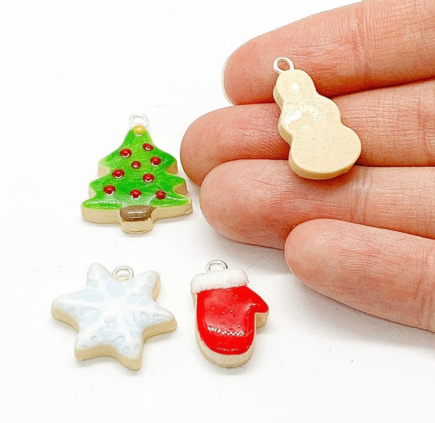 Christmas Charms Bundle, Polymer Clay Charm Lot, Bulk, Sugar Cookie, 10K Charm, Red Mitten Charm, Baking Jewelry Findings, Stocking Stuffer