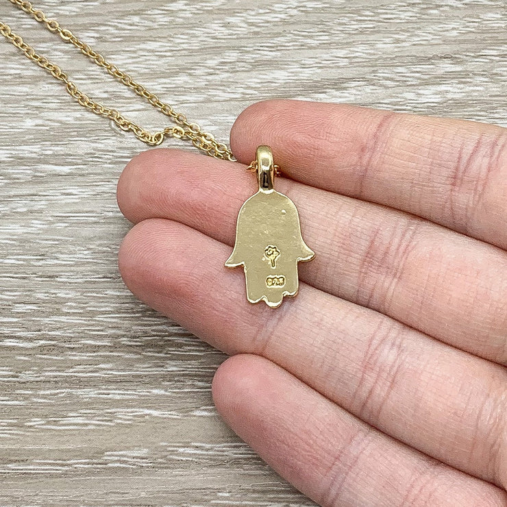 Protection Necklace, Hamsa Hand Pendant Gold, Spiritual Jewelry, Simple Reminder, Hand of Fatima Necklace, Gift for Her, Stocking Stuffer