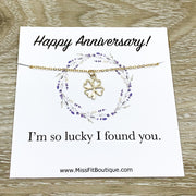 Happy Anniversary Card, Four Leaf Clover Necklace Gold, Good Luck Charm Necklace, Friendship Necklace, Minimalist Jewelry, Gift from Husband