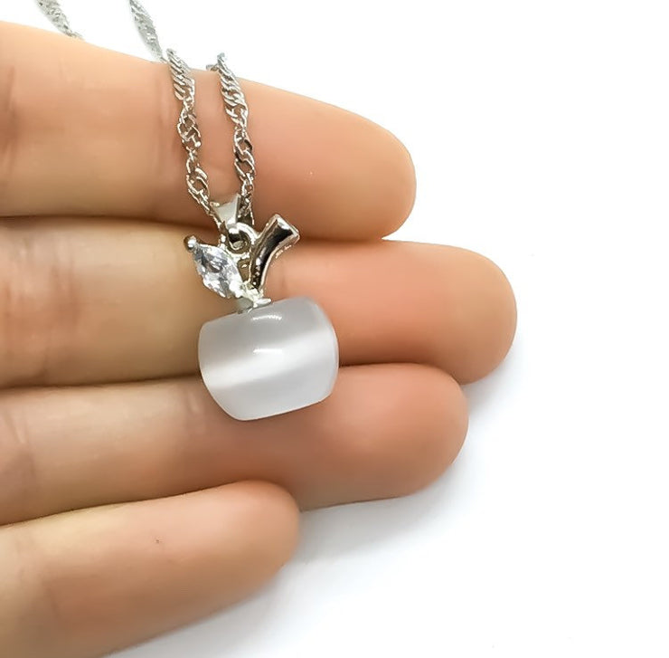 Dainty Opal Apple Necklace, Minimalist Jewelry, Apple Gift, Fruit Necklace, Opalite Necklace, Stocking Filler for Women, Gift for Student