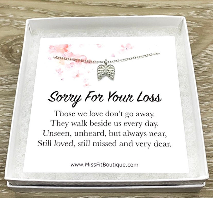 Tiny Angel Wings Necklace, Sorry For Your Loss Card, Grief Jewelry, Loss of Parent, Miscarriage Necklace, Loss of a Mom, Remembrance Gift