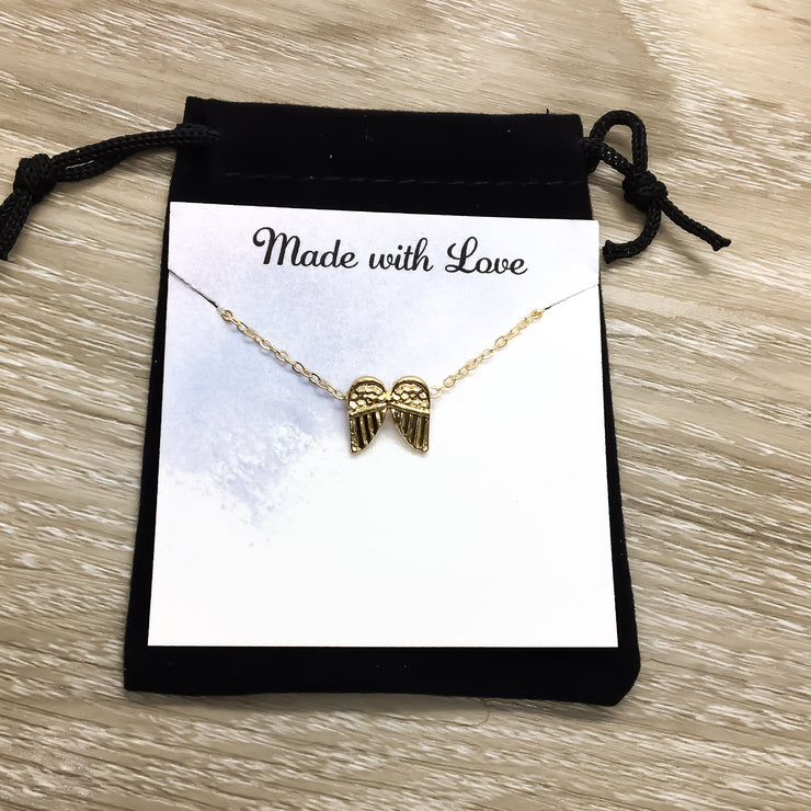 Mommy to an Angel Card, Tiny Angel Wings Necklace Gold, Grief Jewelry, Grieving Mother Gift, Miscarriage Necklace, Remembrance Gift