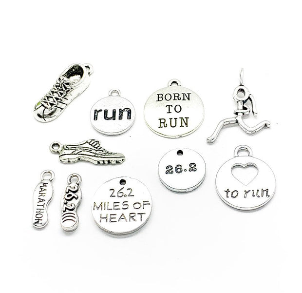 Marathon Charms Bundle, 26.2 Miles, Running Charm Lot, Bulk, Running Shoe Charms, Fitness Charms, Jewelry Findings, Stocking Stuffer