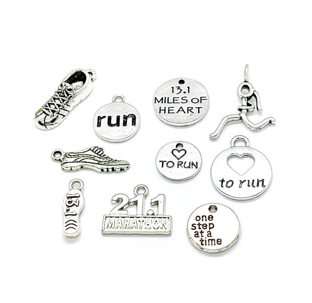Half Marathon Charms Bundle, 13.1 Miles, Running Charm Lot, Bulk, Running Shoe Charms, Fitness Charms, Jewelry Findings, Stocking Stuffer