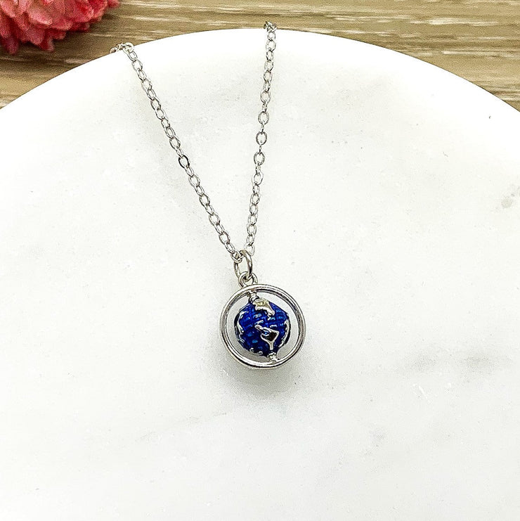 No Matter Where Card, World Map Pendant, Tiny Planet Earth Necklace, Friendship Necklace, Gift for Traveler, Going Away Gift, Travel Gift