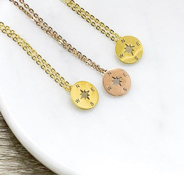 No Matter Where, Compass Necklace Set for 3  Gift from Best Friend, Matching Friendship Necklaces, Going Away Gift, Long Distance Friends
