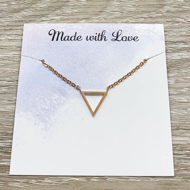 Happy Retirement Card, Tiny Triangle Necklace, Dainty Pendant, New Beginning Gift, Necklace for Women,  Friend Gift, Layering Necklace