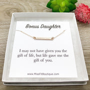 Bonus Daughter Necklace, Rose Gold Bar Necklace, Gift for Stepdaughter, Meaningful Jewelry, Gift from Step Mom, Birthday Gift