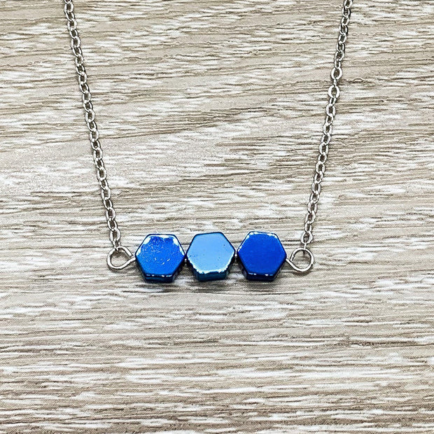3 Blue Pendants, Generations Gift, Three Friends Gift, 3 Sisters Necklace, Sterling Silver, Minimalist Jewelry, Dainty Necklace, Holiday