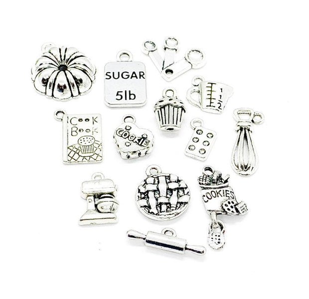 Ultimate Baking Charms Bundle, Large Charm Lot, Bulk, Bakers Charms, Kitchen Charms, Mini Cake Baking, Tiny Cookie Charm, Jewelry Findings
