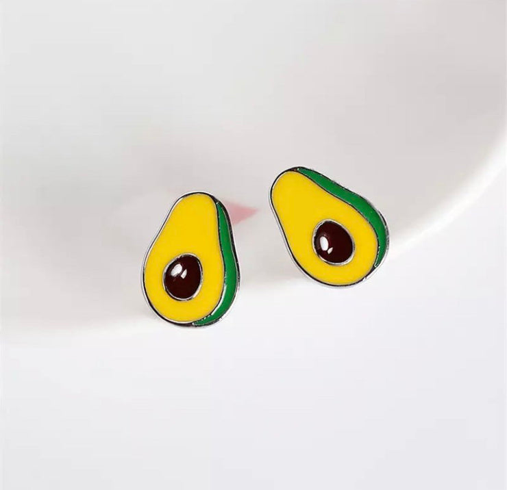 Tiny Avocado Earrings, Foodie Earrings, Green Enamel Stud Earrings, Unique Earrings for Her, Gift for Friend, Statement Earrings